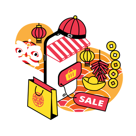Chinese new year sale Illustration