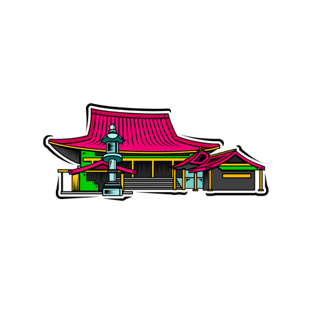 Chinese temple Illustration