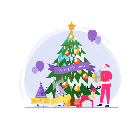 Christmas and Farewell party with Santa, change the year 2019 to 2020 Illustration
