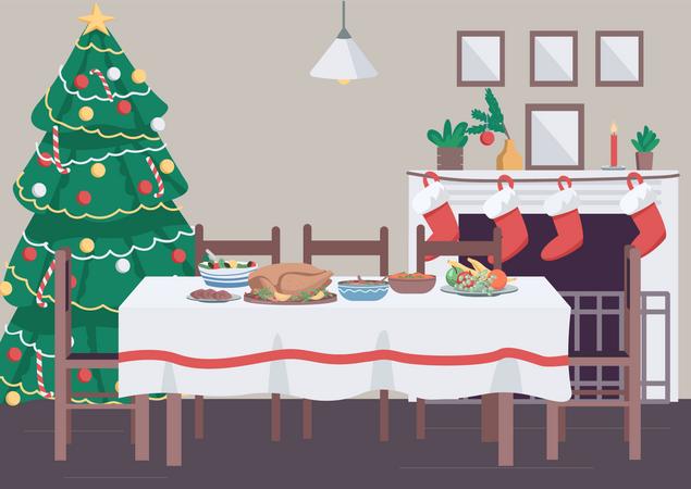Christmas dinner table Illustration