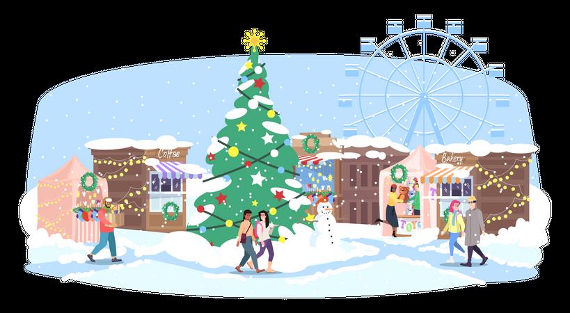 Christmas fair Illustration