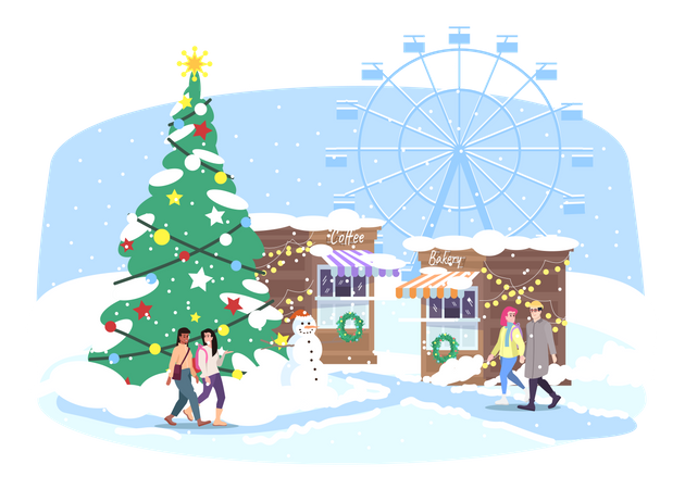 Christmas funfair Illustration