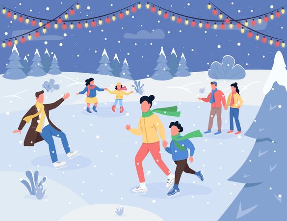 Christmas ice rink Illustration