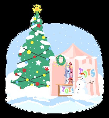 Christmas kiosk Illustration