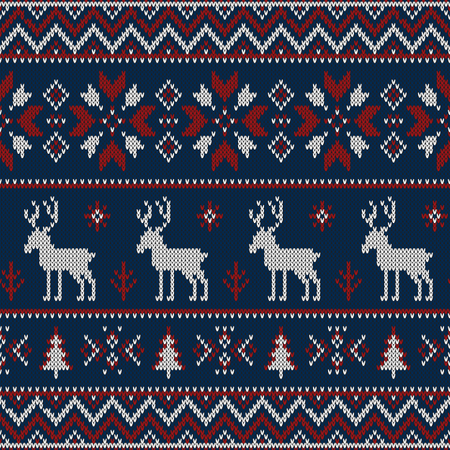 Christmas knitted pattern Illustration