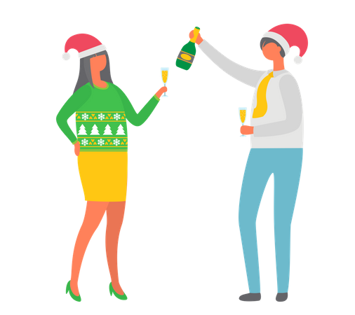 Christmas Party, Couple Drinking Alcohol Champagne Illustration