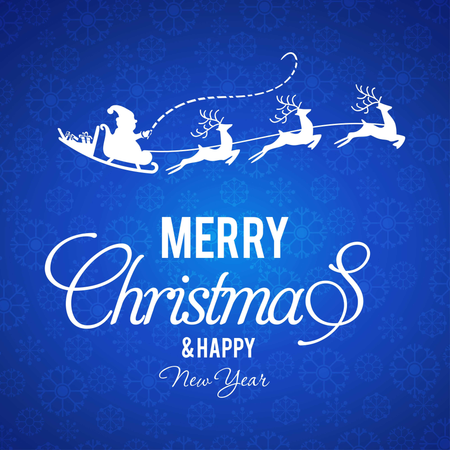 Christmas Pattern Background With Blue Typography Illustration