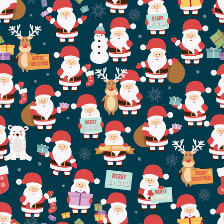Christmas seamless pattern with Santa Claus, reindeer, bear and gifts Illustration