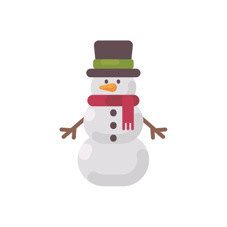 Christmas Snowman In A Hat And Scarf Illustration