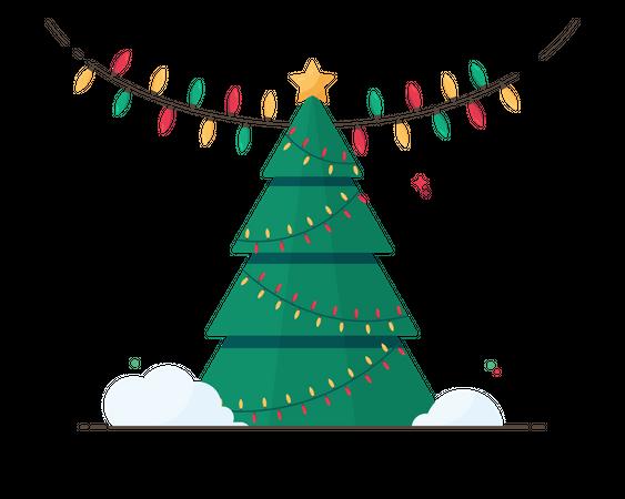 Christmas tree and lights Illustration