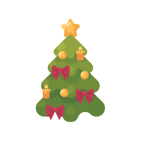 Christmas Tree Decorated With Baubles, Ribbons And Candles Illustration