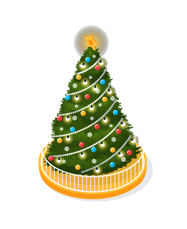 Christmas Tree Decorated With Glowing Garlands Illustration