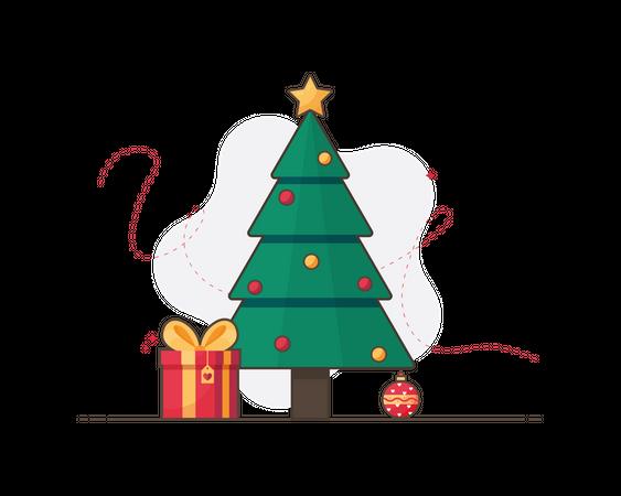 Christmas tree with Christmas gifts Illustration
