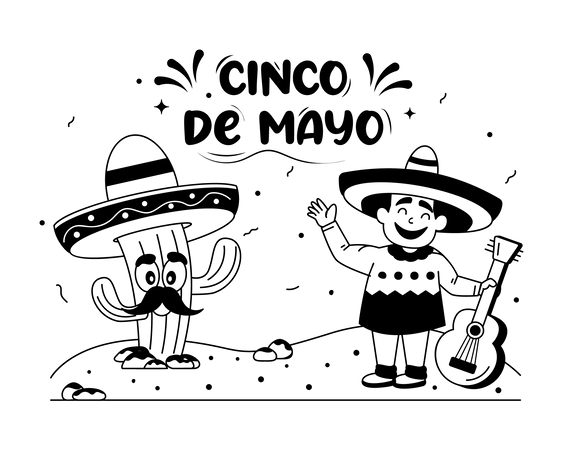 Cinco Bass player Illustration