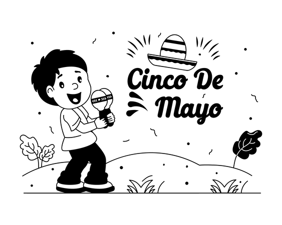 Cinco Maraca player Illustration
