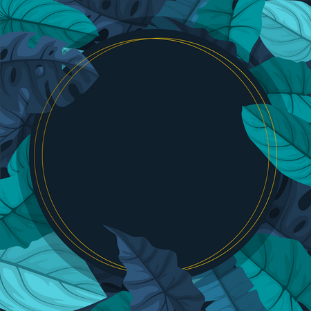Circle Green Tropical Plant with frame background Illustration