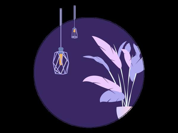 Circle Purple Plant Loft Lamp Illustration