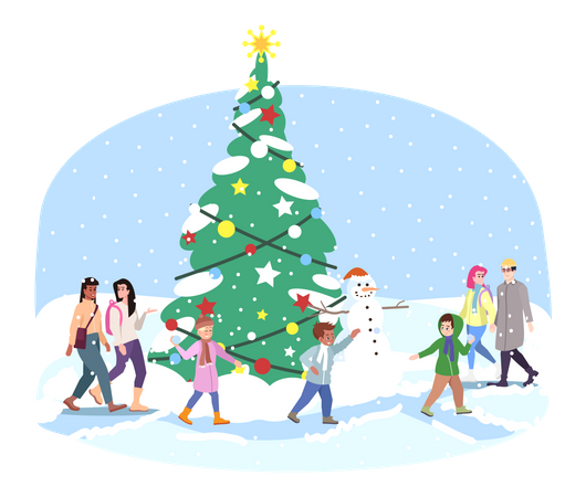 City Christmas tree Illustration