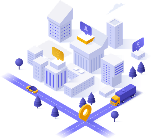 City district, living buildings or houses, streets and location mark Illustration