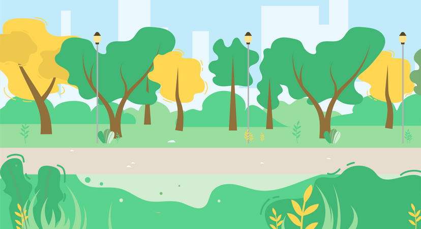 City Park Scene with Green Trees Illustration