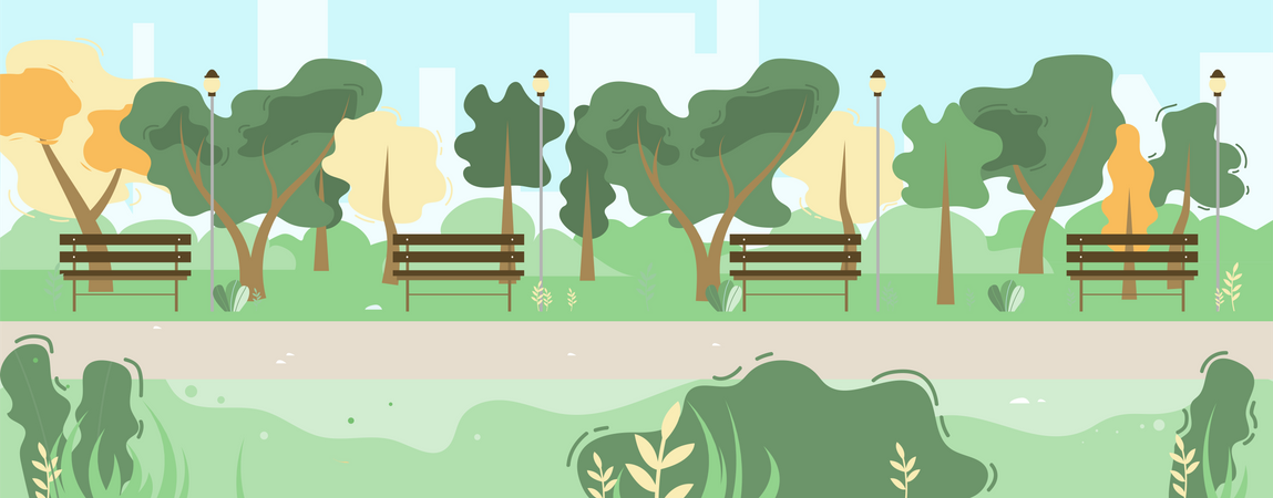 City Park Scene with Green Trees, Benches Illustration