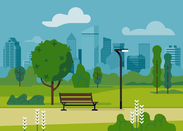 City park with modern bench and light post Illustration