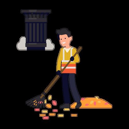 City street cleaner at work Illustration