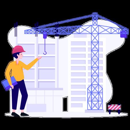 Civil engineer checking project work Illustration