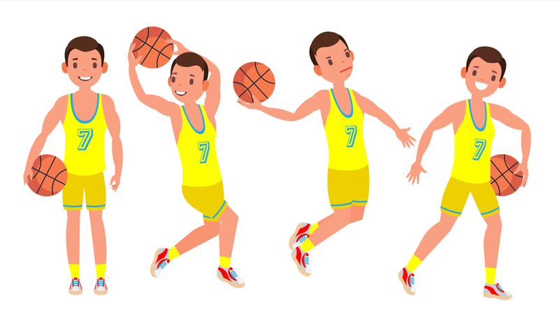 Classic Basketball Player Man Vector. Sports Concept. Different Poses. Sport Game Competition. Flat Cartoon Illustration Illustration