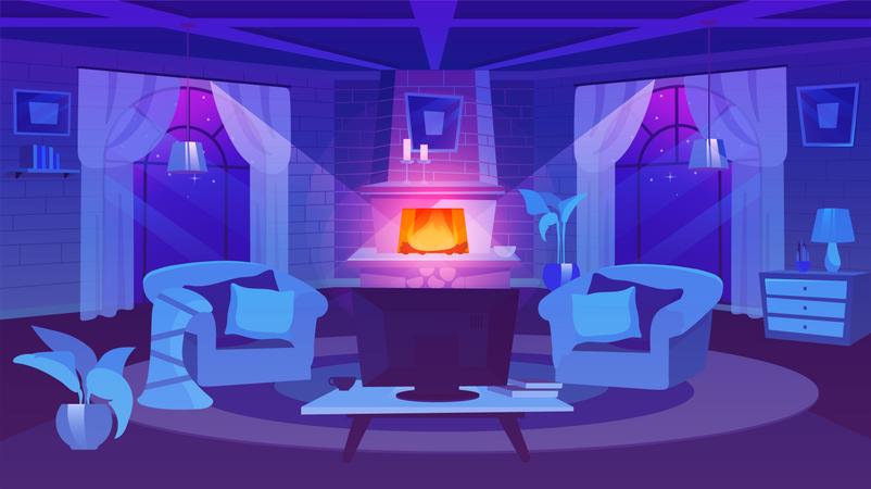 Classic estate interior Illustration