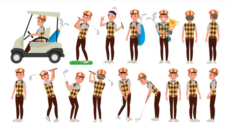 Classic Golf Player Illustration