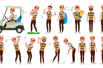 Golf Player Vector Illustration Pack