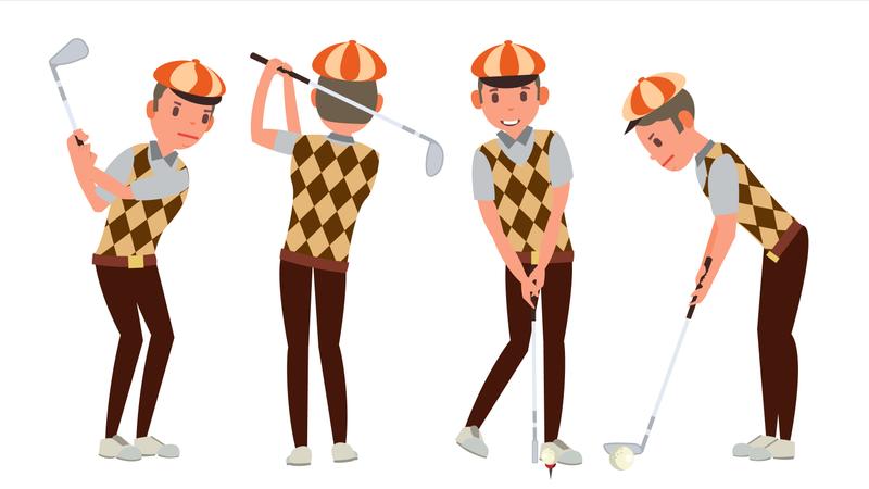 Classic Golf Player Vector Illustration