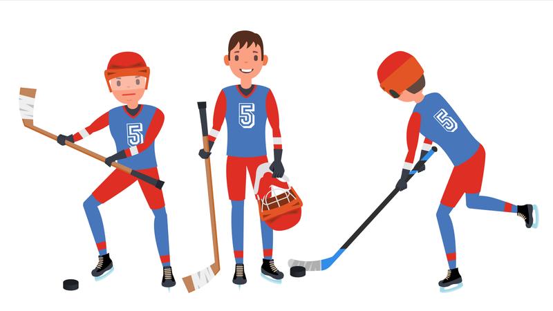 Classic Ice Hockey Player Illustration