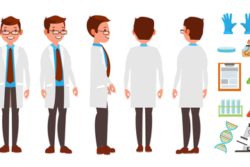 Scientist Man Illustration Pack