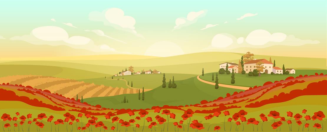 Classic Tuscan scenery Illustration