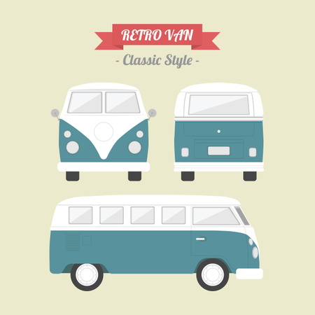 Classic Van In Retro Style Illustration