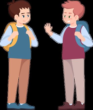 Classmates saying goodbye Illustration