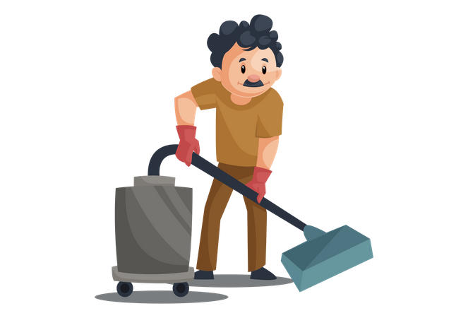 Cleaner Cleaning with Vacuum cleaner Illustration