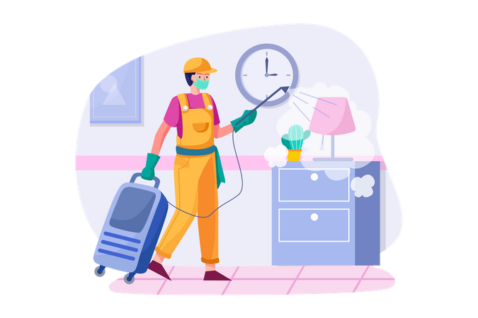 Cleaner Disinfecting room Illustration