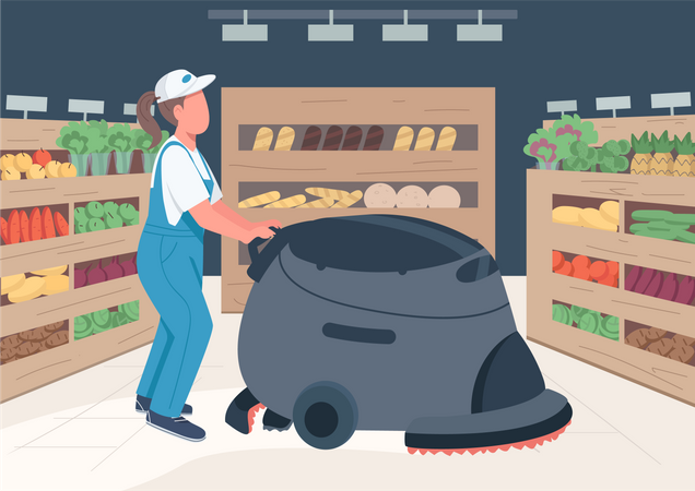 Cleaner in grocery store Illustration