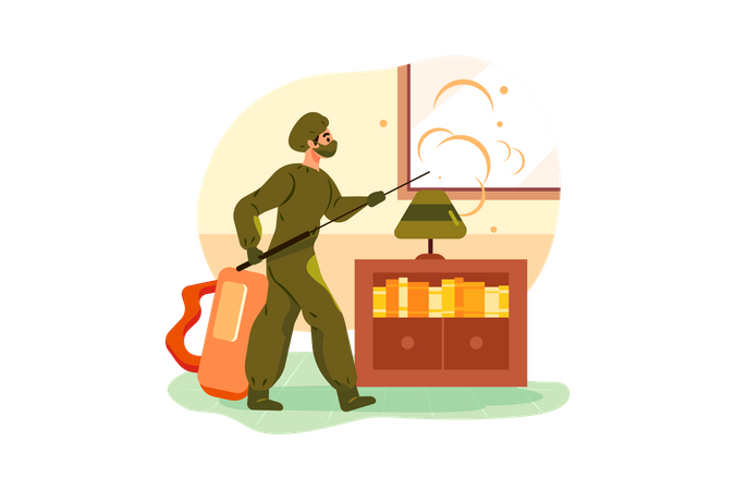 Cleaner is disinfecting the room Illustration