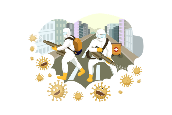 Cleaner Workers Cleaning or Disinfecting street or places Illustration