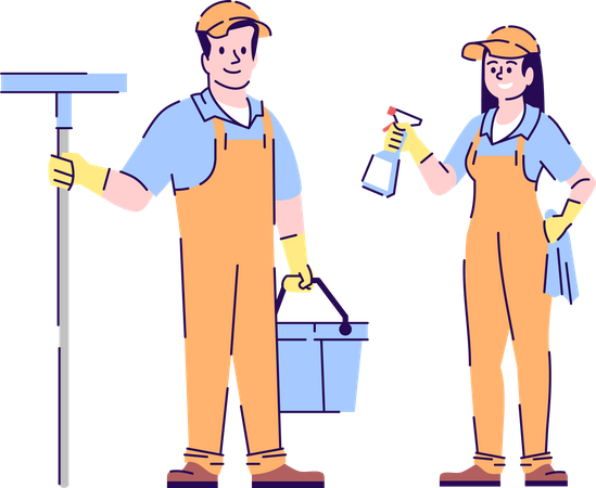 Cleaners couple Illustration