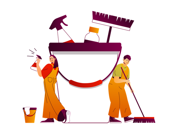 Cleaners provides housekeeping services Illustration