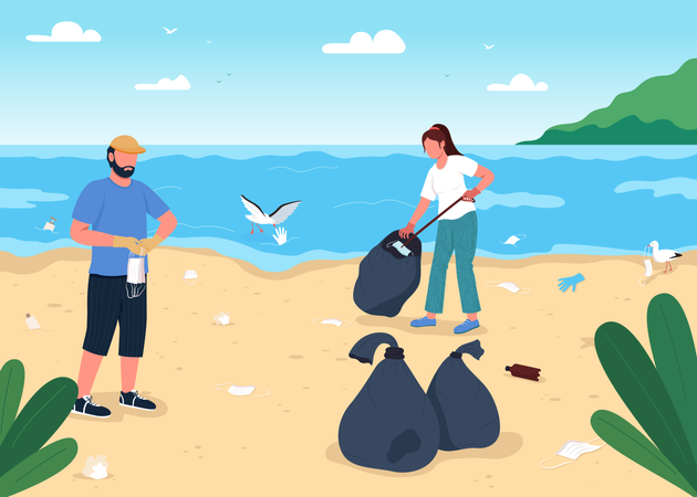 Cleaning beach from covid-19 wastage Illustration