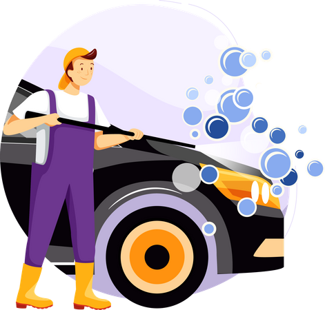 Cleaning car with water spray Illustration