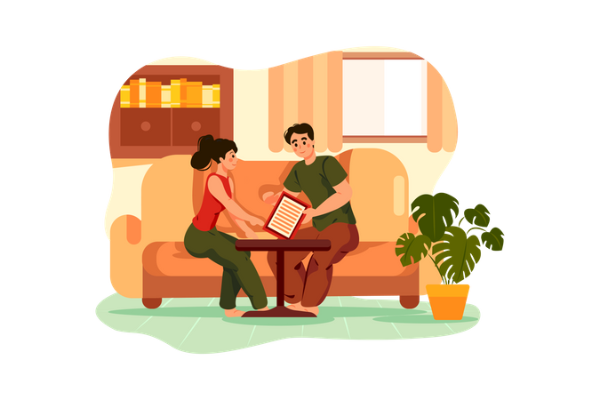 Cleaning House Contract Illustration