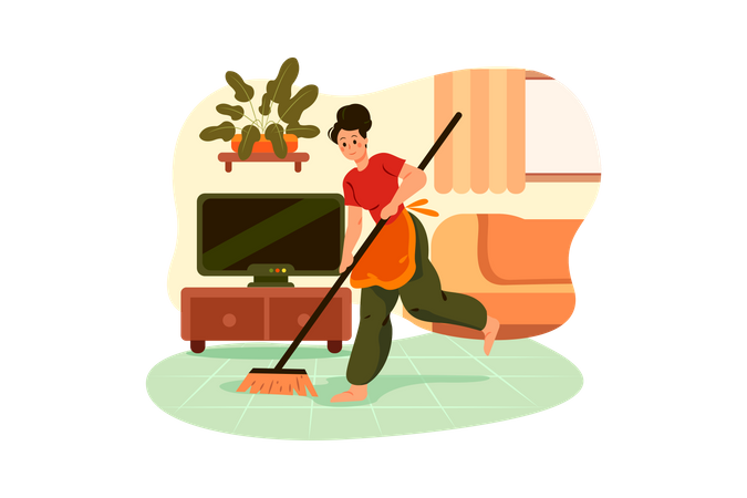 Cleaning man clean house Floor with broomstick Illustration