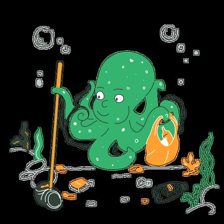 Cleaning ocean Illustration